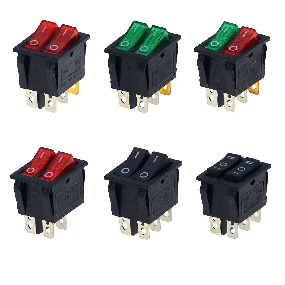 1PCS KCD6 15A 250V AC Rocker Switch Boat Switch 6pins With Lamp ON-OFF The Electric Grill  Electric Heater Double Ship Type