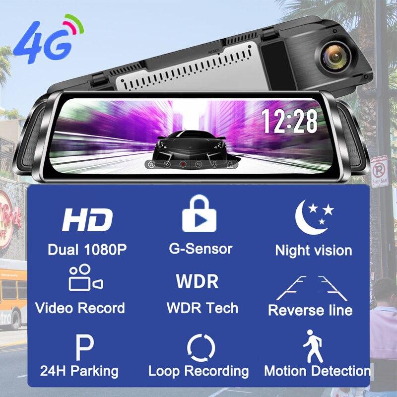 WHEXUNE 4G Android 8,1 Автомобильная dvr камера gps 12 дюймов зеркало заднего вида 2G ram + 3 2G rom видеорегистратор - 2