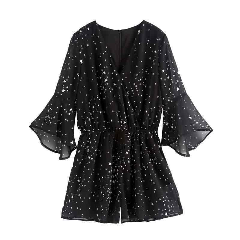 2020 New Woman Short Jumpsuits 스타 프린트 v 넥 캐주얼 점프 슈트 로퍼 하이 웨이스트 와이드 레그 시폰 Playsuit Black Bodysuit