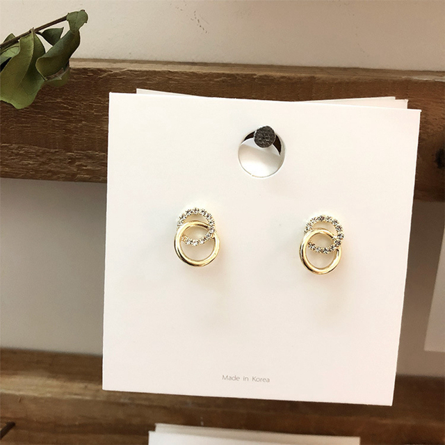 2020 Korean Simple Double Circle Gold Color Metal Rhinestone Drop Earrings For Women Fashion Small Pendientes Jewelry Gifts 3