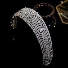 Asnora europeu clássico zircônia cúbica tiara real princesa casamento headpiece tiaras e coroas de noiva, acessórios de cabelo de casamento