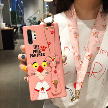 For Samsung note 10 case cute cartoon cover Galaxy Note 10 plus soft shell pink panther wristband holder girl gifts + silk strap