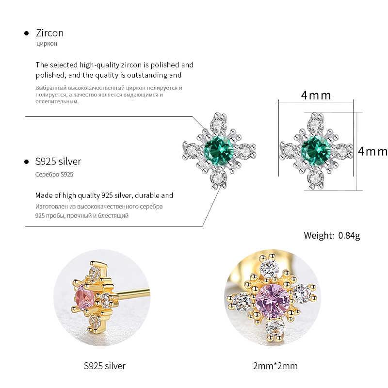 AGLOVER 925 Sterling Silber Stud Ohrringe Blumen Grün Lila AAA Kristall Zirkon Ohrringe Frauen Luxus Hochzeit Schmuck Geschenke