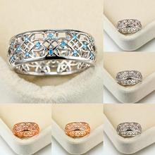 Dainty Female Blue Crystal Stone Ring Charm Rose Gold Silver Wedding Rings For Women Cute Rainbow Hollow Flower Engagement Ring bocai silver makeup india nepal bali silver acts the role of by hand rainbow blue moon stone ring