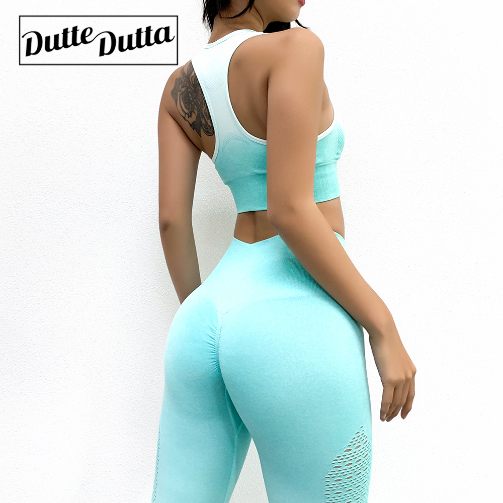 New 2 Piece Gradient Yoga Pants Tight High Waist Seamless Yoga Suit Sports Stretch Fitness Bra Yoga Sets Breathable Sweat image