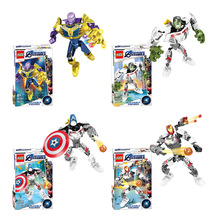 Super Heroes Thanos Iron Man Hulk Spiderman Batman Captain Marvel Marvel Avengers Building Blocks Toys Figures gift все цены