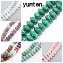 Yumten Round Malachite Beads 6mm*12mm Gemstone Bead Lot Tbsidian Aventurine Turquoise Black Agate  Hand Made Bracelets Necklaces