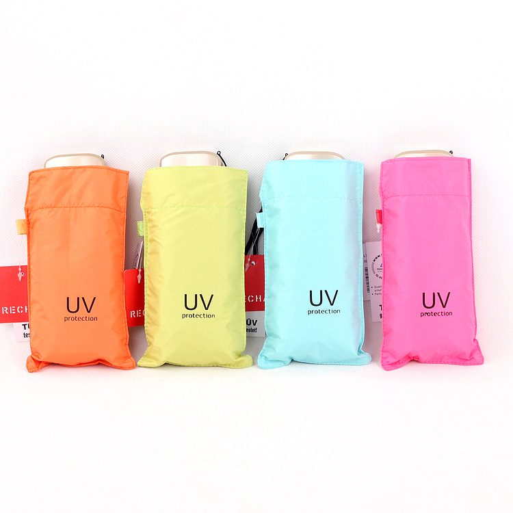 Currently Available New Style UV Cooling Colored Plastic Flat Five-fold Umbrella Gift Box Boutique Parasol Umbrella Folding Umbr