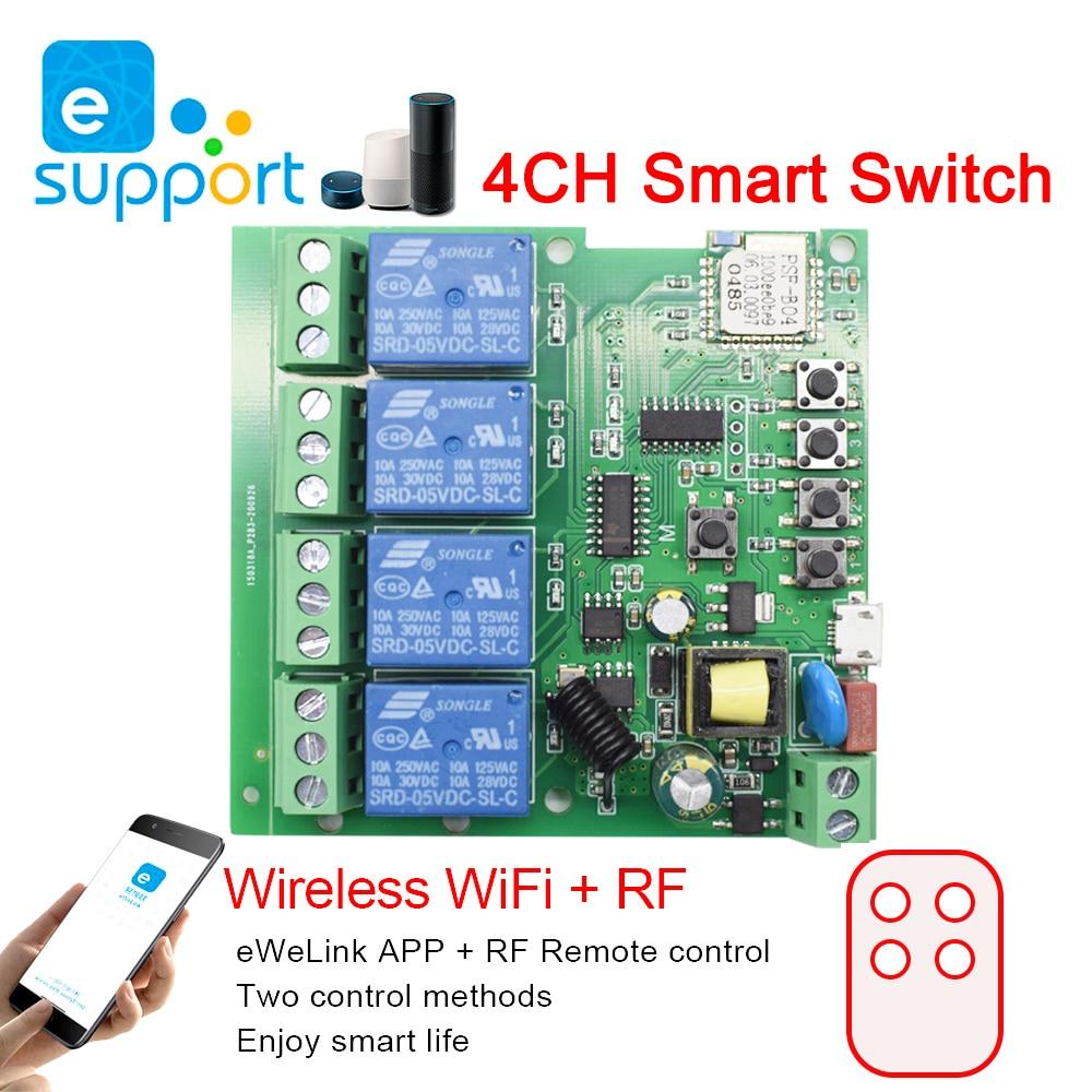 Умный Wi-Fi модуль переключателя eweLink, реле с таймером для Alexa Google Home, 4 канала, 5 В, 7-32 В, 85 в, 220 В, 250 В, 10 А
