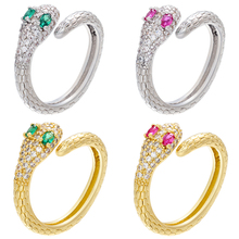 ZHUKOU 1 piece CZ crystal gold/silver color women adjustable rings snake creative rings for 2020 party Jewelry model:VJ31