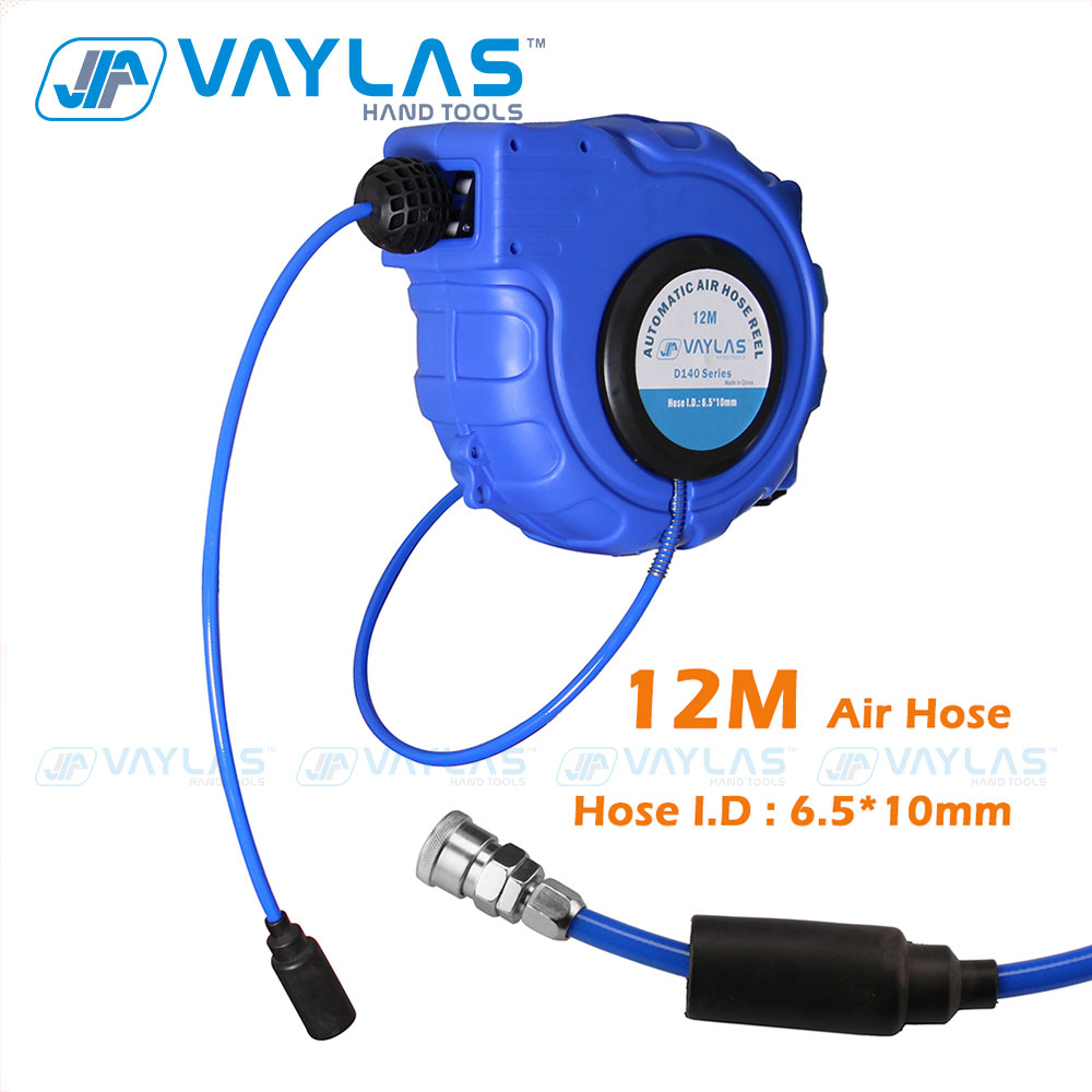 VAYLAS Automatic Air Hose Reel 12M 6.5*10mm Pneumatic Hose Automatic Retractable Reel Telescopic Drum Winder Hose