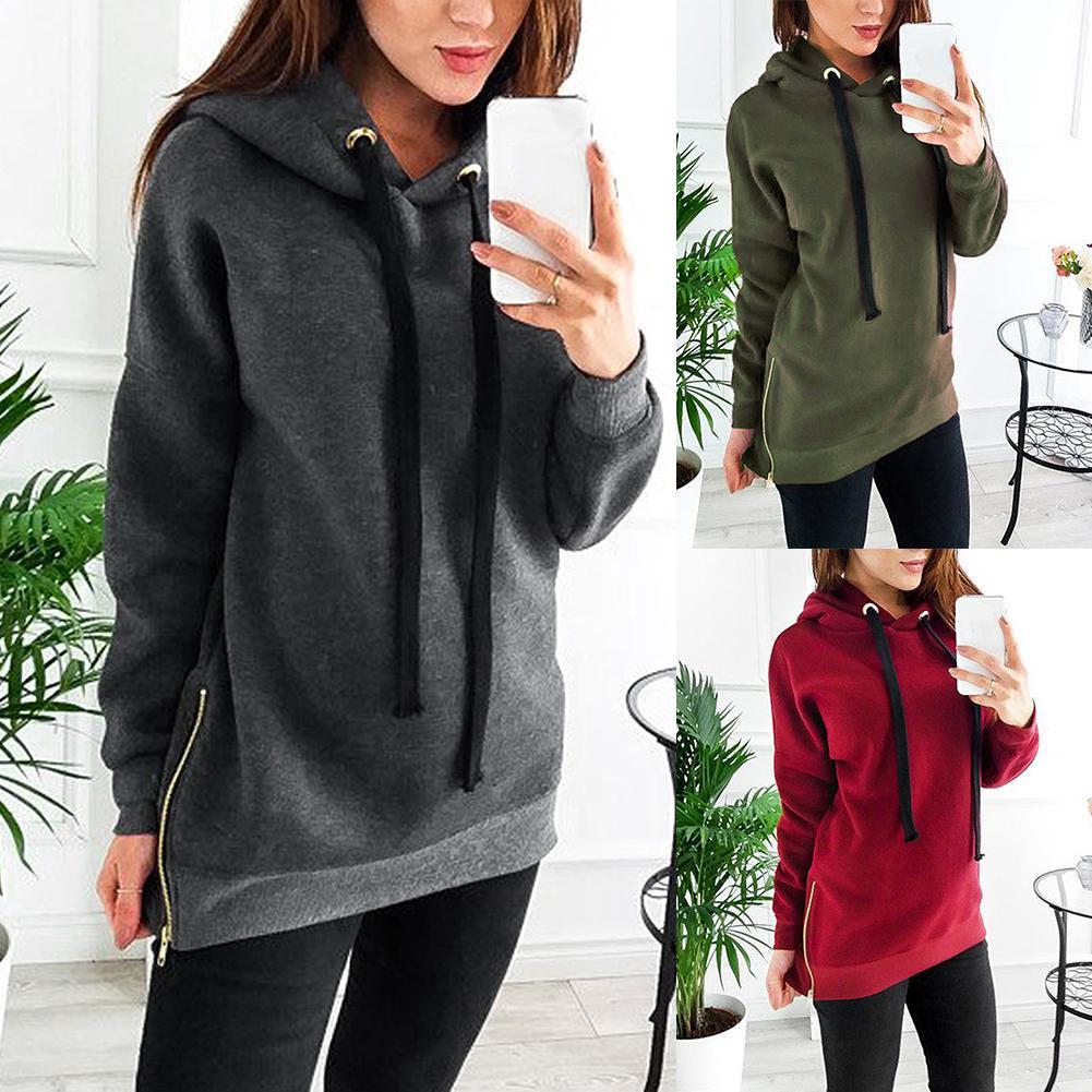 Fashion Sports Women Hoodies Solid Color Hoodies Long Sleeve Side Zipper Hooded Sweatshirt Top For Women's Top Clothing