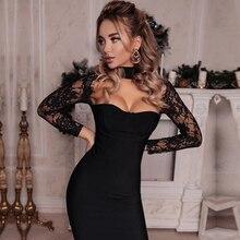 Adyce 2020 yeni yaz kadın ünlü parti elbise uzun kollu Hollow Out sıcak Bodycon elbise siyah dantel Midi bandaj elbise vestido