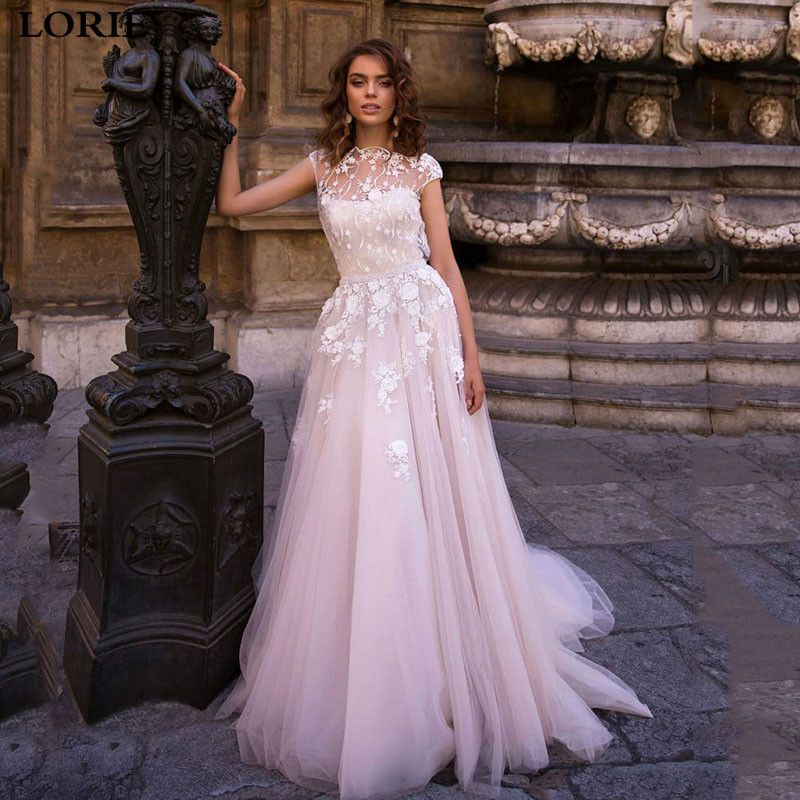 LORIE Princess Wedding Dress 2019 Fairy Lace Bridal Dress Cap Sleeve Boho Wedding Gowns Vestidos De Novia