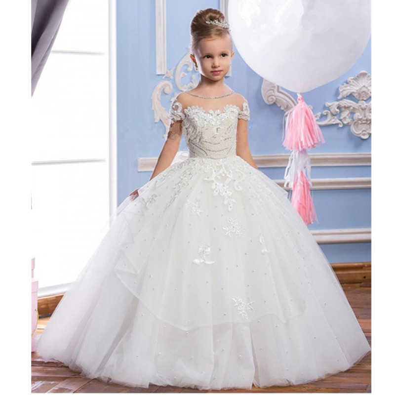 Hot Grace Flower Girl Dresses Blue Pink Champagne Luxury Sleeveless Expansion Ruffles Flowers Little Girls Pageant Tulle Gowns