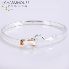 Charmhouse Pure Silver Bangles For Women Gold Color Hook Cuff Bangle & Bracelet Wristband Pulseira Femme Wedding Bridal Jewelry meaeguet punk black gold color removable cuff stainless steel bracelet bangle wristband pulseira feminina jewelry