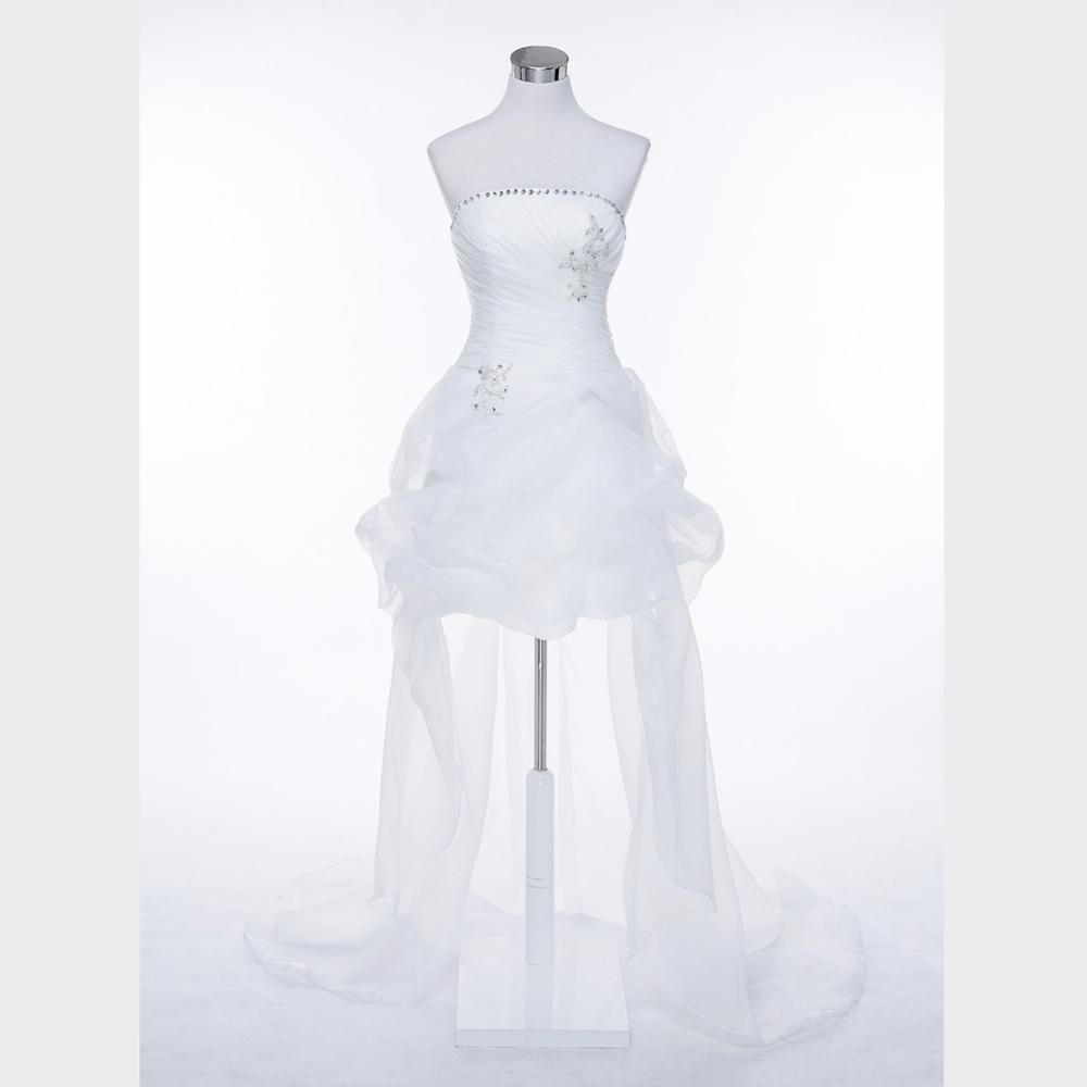 Strapless Wedding Dress Plus Size Wedding Dresses High/low Dress With Train Vestido De Noiva WED90596