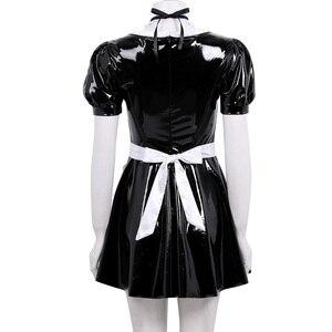 Image 3 - Женский костюм для косплея французской горничной для взрослых, вечерние платья трапециевидной формы с пышными рукавами из лакированной кожи с фартуком и повязкой на голову