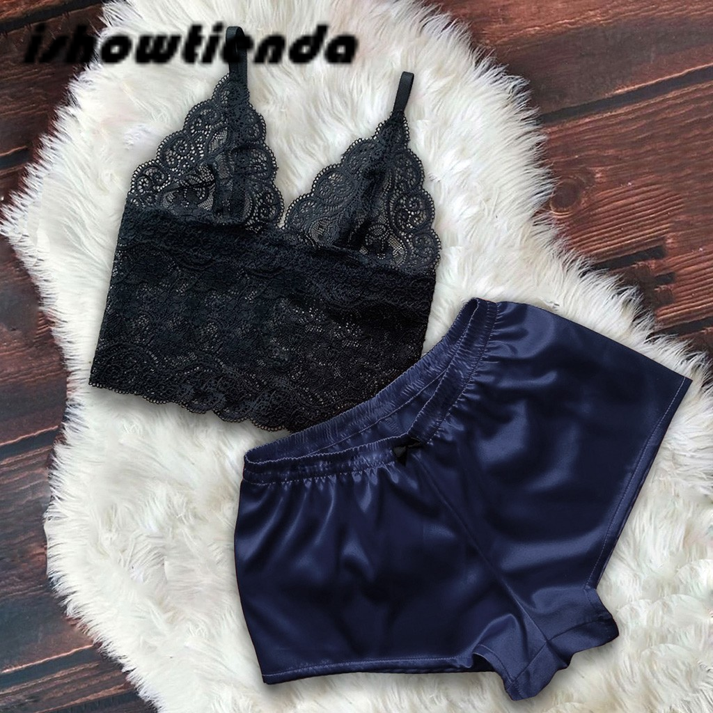 Floral Lace Bralette With Satin Shorts Lingerie Set Women 2019 Summer Sexy Sets Ladies Bra And Panty Underwear Pajama Set