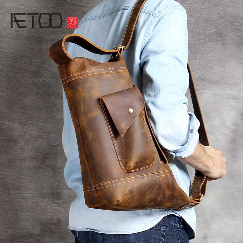 AETOO Personality Mad Horse Leather Man Single Shoulder Bag Leather Oblique Cross Bag Handmade Original Head Layer Cowhide Bag