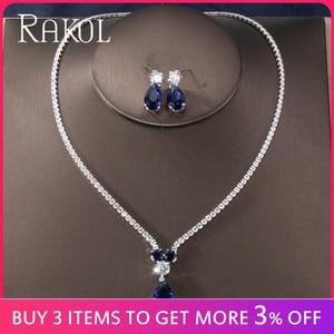 Image 2 - RAKOL New Fashion Luxury AAA Zircon Water Drop Shape Necklace Earrings jewelry Set for Women Party wedding Dress Accessories