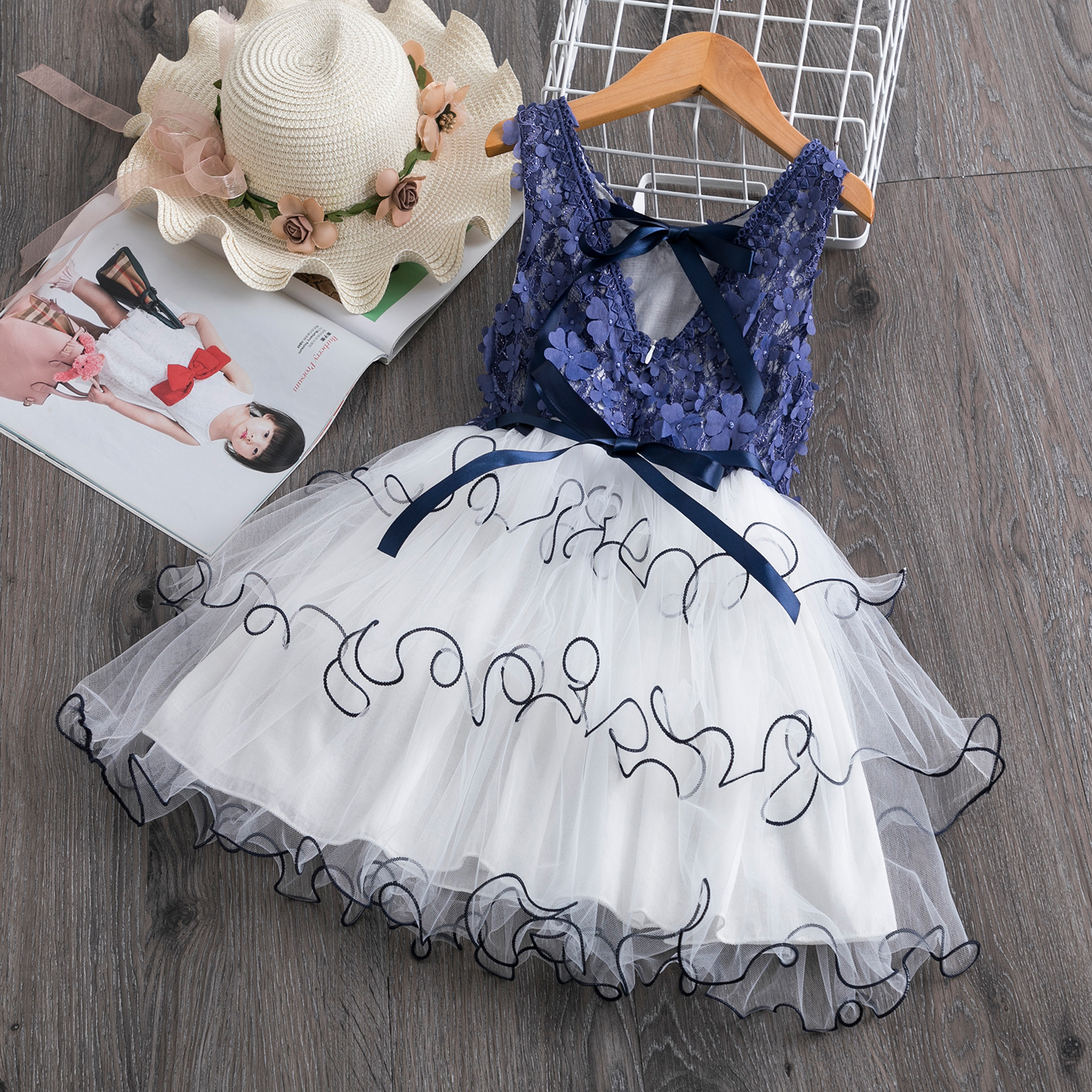 3-8Y Lace Cake Tutu Layered Backless Short Sleeve   Girls   Kids Wedding   Flower     Girl     Dress   Princess Party Pageant   Dress   Tulle   Dress