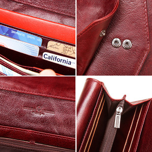 Image 5 - KAVIS Genuine Leather Wallet Female Coin Purse Women Portomonee Clutch  Lady Clamp for Phone Bag Zipper Card Holder Handy Perse