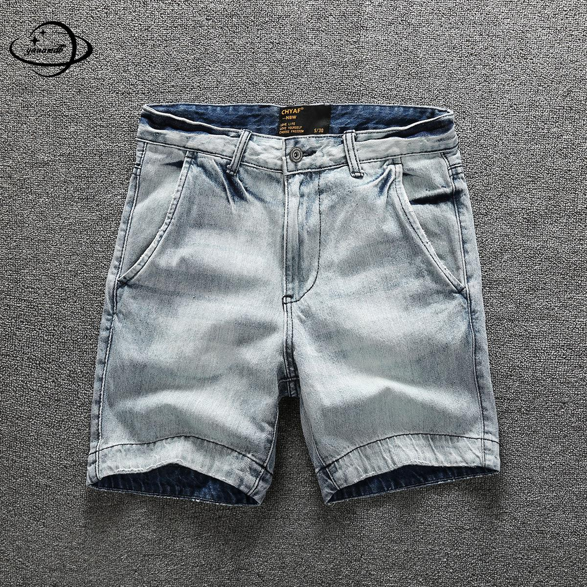 Mens Jeans Summer Male Trousers Clothing Zipper Straight Shorts Casual Comfortable Breathable Loose Man Clothes H66