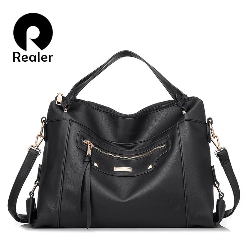 REALER women handbags Urban Gypsy female crossbody shoulder bag for women PU leather large messenger bag ladies fashion Tote