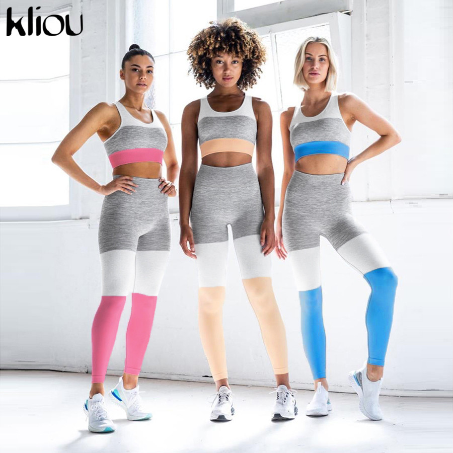 Kliou Women Fitness Tracksuit Seamless Knitted 2 Pieces Set Crop Top Bra With Padded Striped Leggings Skinny High Waist Outfits