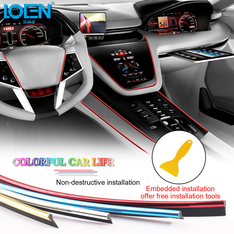 >LOEN 5M Car Styling Interior <font><b>Decoration</b></font> Strip Chrome Silver Blue Red Moulding Trim Air <font><b>Dashboard</b></font> <font><b>Door</b></font> Edge Auto Accessories