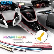 LOEN 5M רכב סטיילינג פנים קישוט רצועת כרום כסף כחול אדום יציקת Trim אוויר לוח מחוונים דלת קצה אביזרי רכב