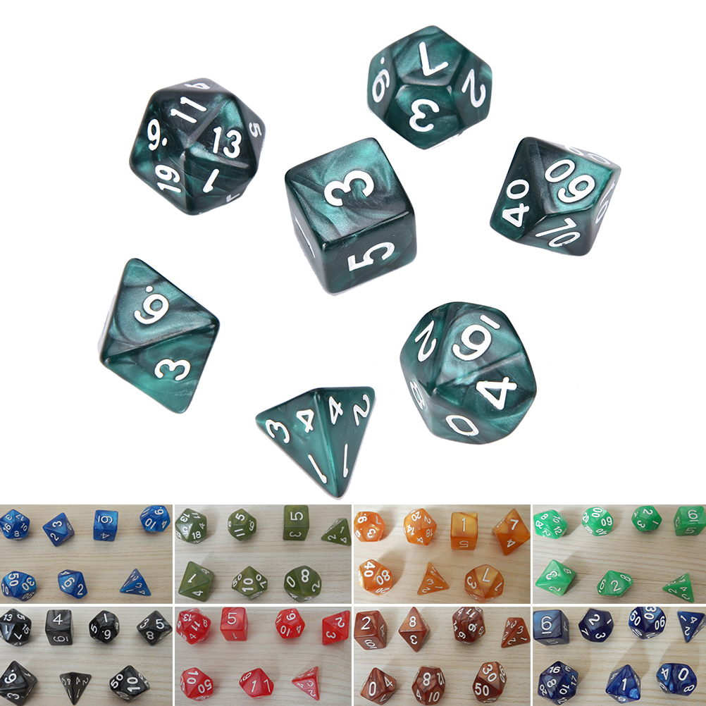 Purple 7pc Gem Acrylic Polyhedral Dice for Dungeon//Dragon D4 Dice Cup Games