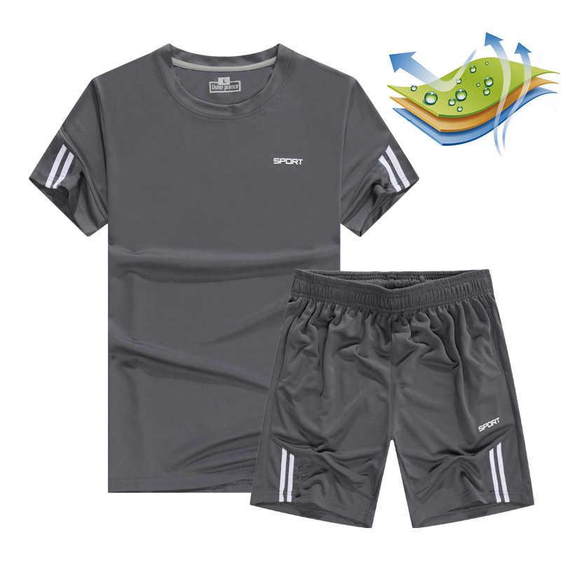 Szybkie suche męskie spodnie sportowe do biegania garnitury koszykówki piłki nożnej szkolenia dresy Jersey 2019 lato Fitness odzież sportowa siłownia odzież zestawy