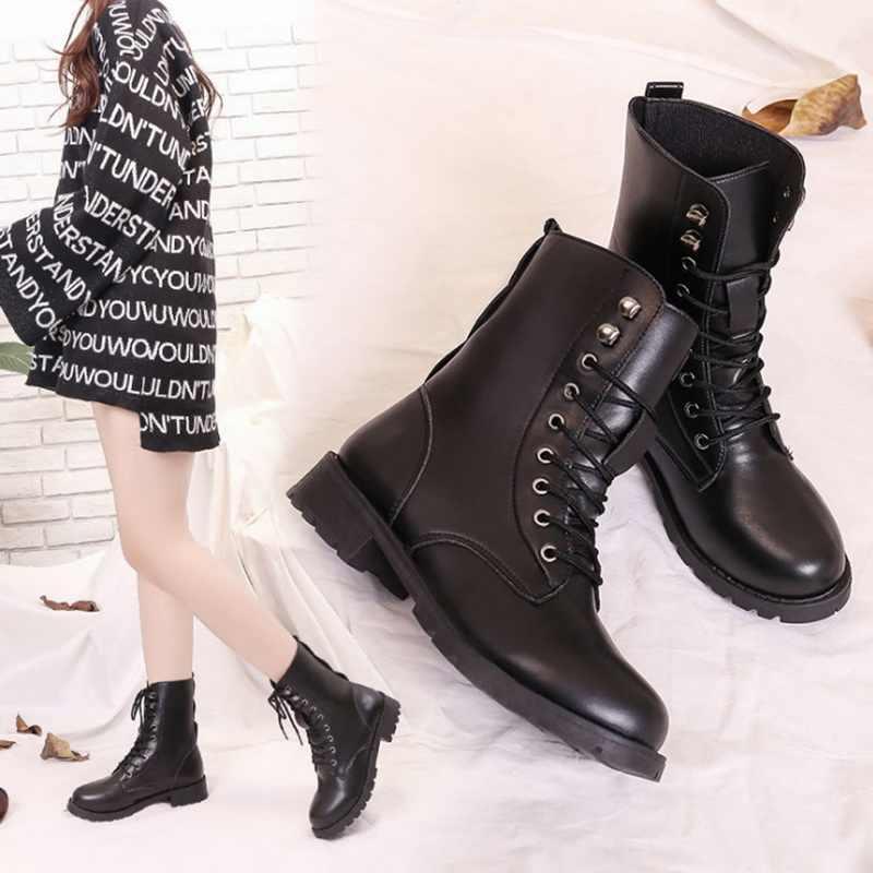 Moda kadın ingiliz tarzı botlar 2019 yeni bayanlar PU deri Lace Up düşük topuk kısa çizmeler rahat siyah çizmeler