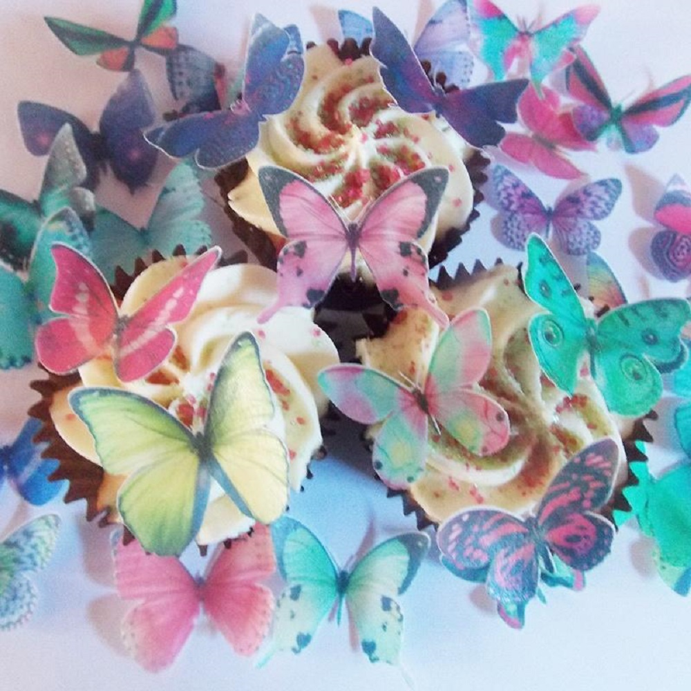 20pcs 3D Mixed Butterfly Edible Glutinous Wafer Rice Paper butterfly Cake Cupcake Toppers Wedding Birthday party Cake Decoration