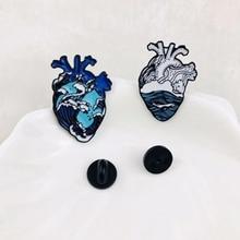 лучшая цена New cartoon cute marine series brooch heart anatomy clothing pin polka dot ladies ornament