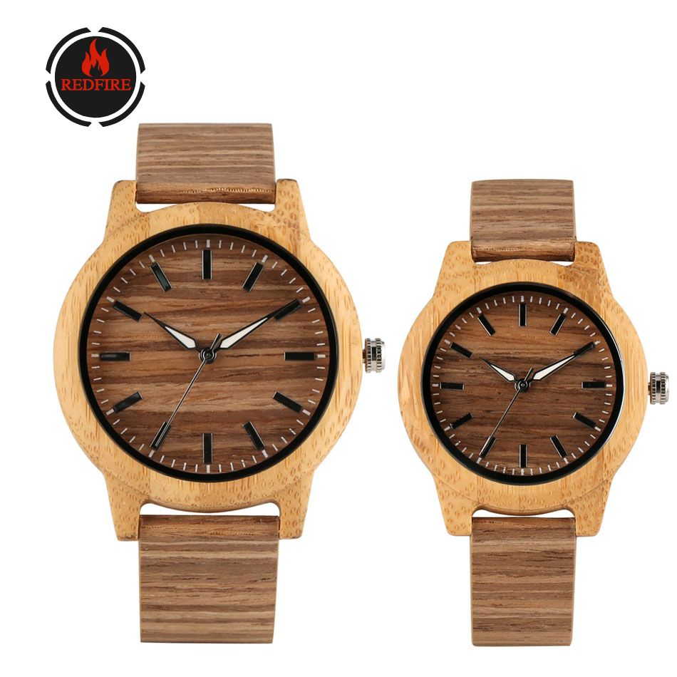 REDFIRE Couple Watches Wood Watch Men Quartz Movement Creative Corkwood Genuine Leather Lovers Wooden Watch Hot Fashion Gift