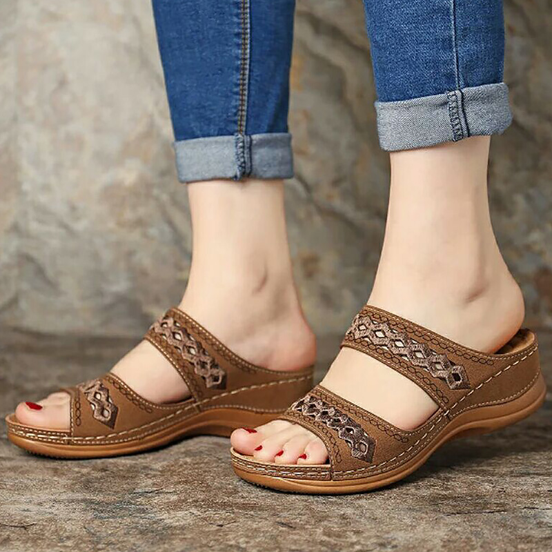 Women's Summer Shoes Plus Size 43 Hollow Slip On PU Leather Sandals Women Rubber Comfortable Weges Shoe Girls 2020 New image