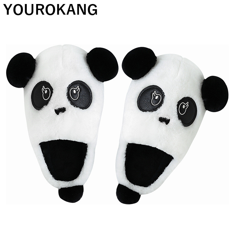 Winter Women Cartoon Home Slippers Warm Indoor Bedroom Plush Slipper Unisex Household Couple Shoes Cute Panda Lovers Footwear in Slippers from Shoes