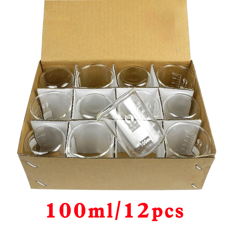 100ml 12pcs/set Laboratory Glassware Pyrex Beaker Borosilicate Glass  Chemical Measuring Cup Flat Bottom Thickened With Spout