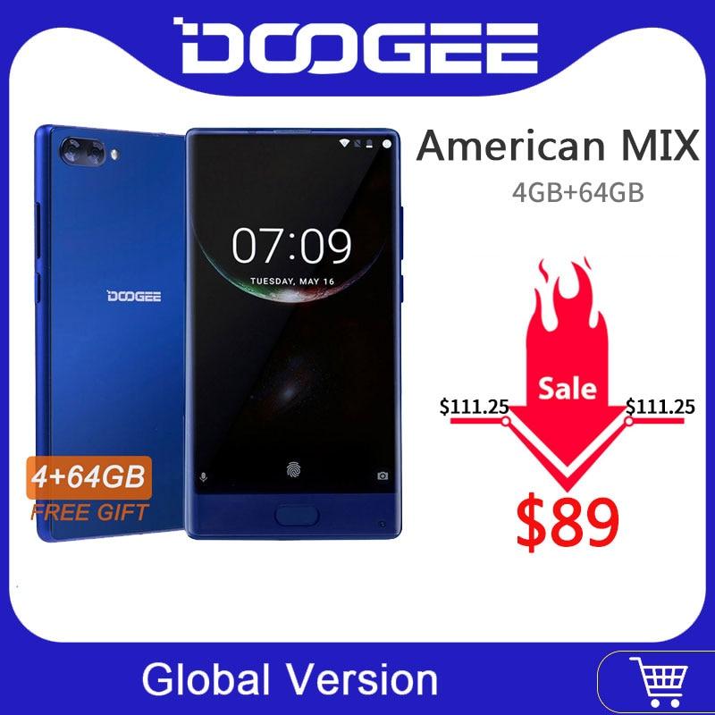 Version américaine Smartphone DOOGEE MIX Original double caméras 5.5 pouces MTK Helio P25 Octa Core 4GB + 64GB LTE Smartphone 3380mAh