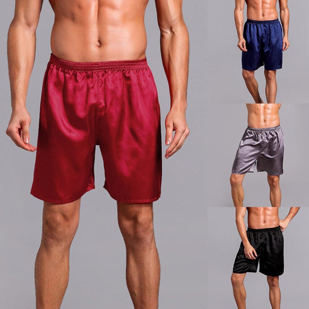 2019 Men Sexy Faux Silk Satin Sleepwear Loose Casual Elastic Waist Summer Sleeping Shorts Home Pajama Short Pants Sleepwear