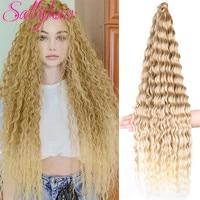 Sallyhair Zizi Deep Wave Crochet Hair Blonde Ocean Wave 32 Inch Afro Curls Synthetic Light Weight Ombre Braiding Hair Extensions