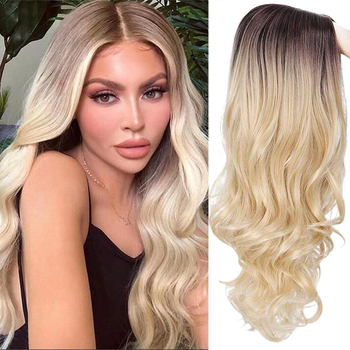 AOSI Long Wavy Wig Dark Root None Lace Middle Part Side Hair Ombre Synthetic Cosplay Wig Blonde Wigs Heat Resistant for Women