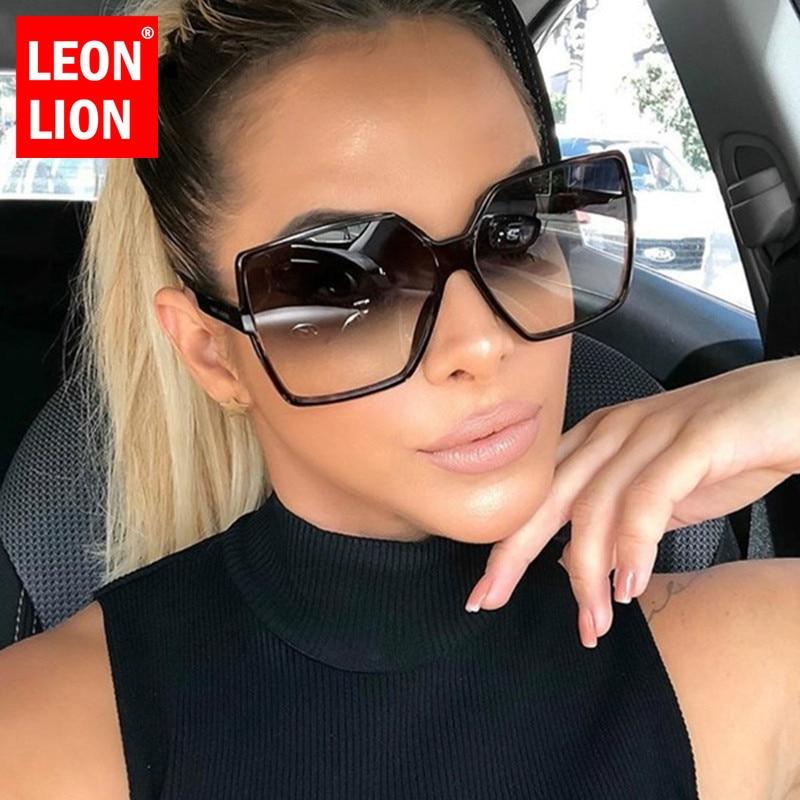 LEONLION Oversize Sunglasses Women Luxury Brand Designer Sunglasses Women 2019 High Quality Gradient Sun Glasses Vintage Oculos