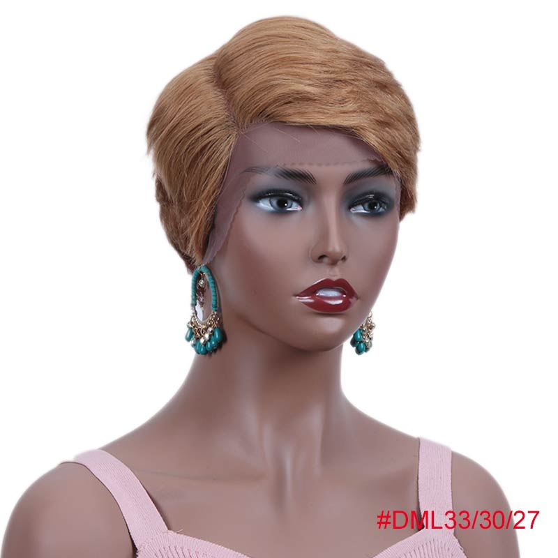 Rebecca, парики из натуральных волос на кружеве для черных женщин, прямые парики из натуральных волос, предварительно выщипанные, 613 блонд, розовый, бордовый, 99J - Цвет волос: DML33-30-27