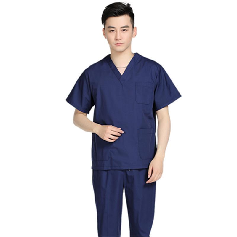 2020 Elastic Medical Scrubs Hospital Staff Uniforms Nursing Solid Clothes Male Salon Slim Fit Fashion Design Surgical Gown