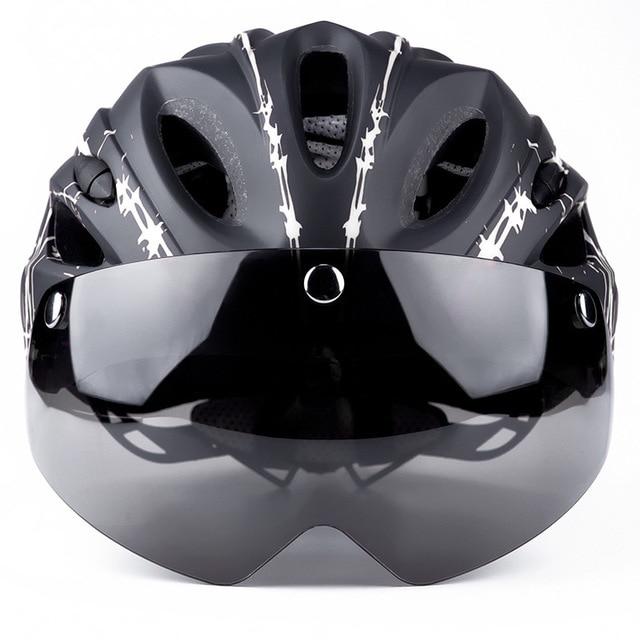 Ciclismo capacete com óculos de proteção ultraleve mtb capacete da bicicleta das mulheres dos homens ciclismo segurança esportes ao ar livre capacete de corrida 2