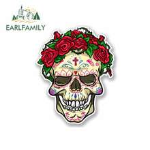 EARLFAMILY 13cm x Funny Car Stickers for Mexican Sugar Skull JDM Vinyl Wrap Waterproof Anime Accessories DIY Fine Decal